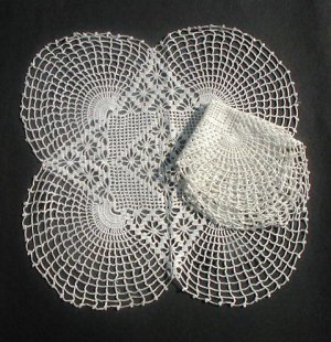 """2 Different Stunning Geometric Crocheted Doilies White 15"""" & 12"""""""