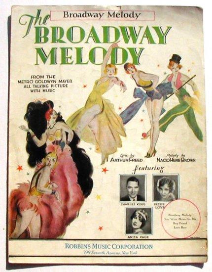 Broadway Melody Vintage Sheet Music 1929
