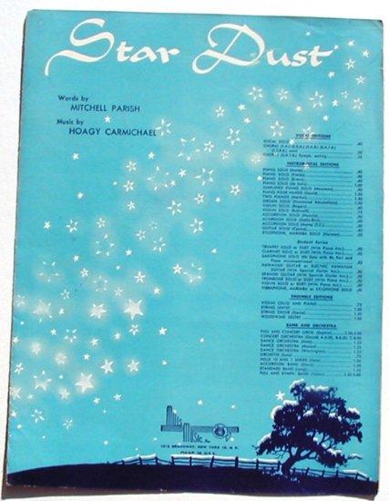 Star Dust Vintage Sheet Music English French Hoagy Carmichael