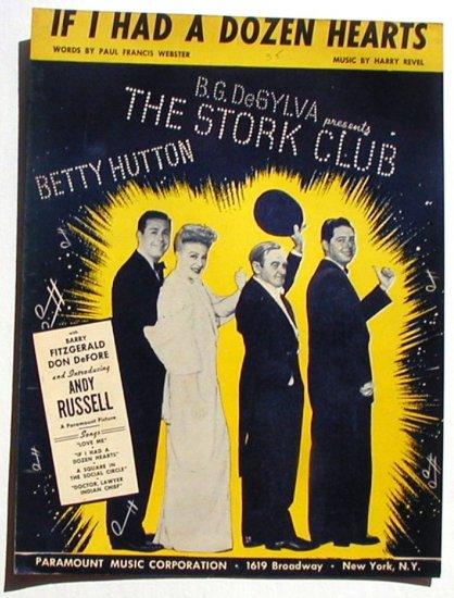 If I Had A Dozen Hearts Vintage Sheet Music 1945 The Stork Club
