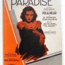Paradise 1931 Pola Negri Vintage Sheet Music
