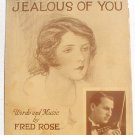 That's Why I'm Jealous of You Vintage Sheet Music 1929 Brosnatch Cover
