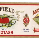 Mayfield Triple Succotash Vintage Vegetable Can Label