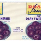 Rose Fruit Dark Sweet Cherries Vintage Fruit Can Label