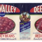 Deer Valley Red Kidney Beans Vintage Vegetable Can Label Somerset PA