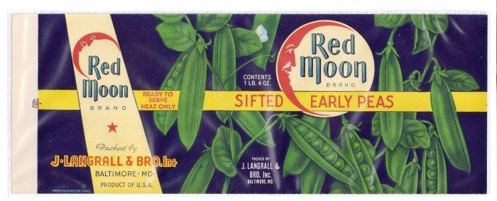 Red Moon Peas Vintage Vegetable Can Label Langrall