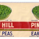 Pine Hill Early Peas Vintage Vegetable Can Label Meyersdale PA