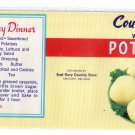 Country Store potatoes Vegetable Can Label East Gary IN