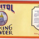 Capitol Baking Powder Can Label Charleston WV