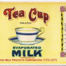 Tea Cup Evaporated Milk Can Label Cleveland OH
