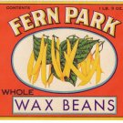 Fern Park Wax Beans Can Label L. Klein Chicago