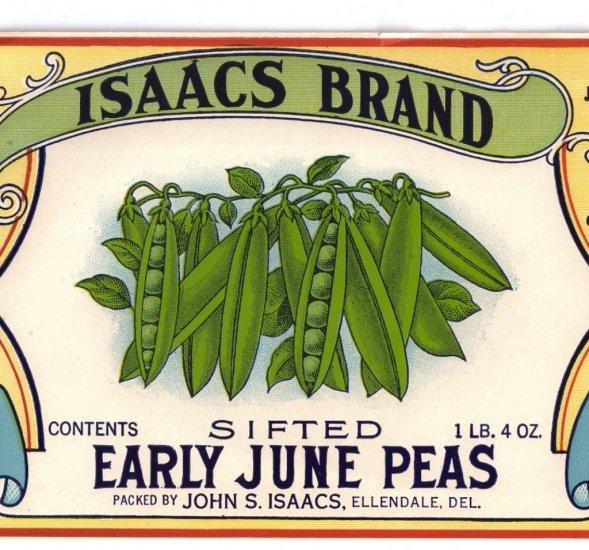 Isaacs Early June Peas Can Label Ellendale DE Lithograph