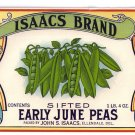 Isaacs Early June Peas Can Label Ellendale DE Lithograph
