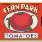 Fern Park Tomatoes Can Label L. Klein Chicago 1 Lb 3 Oz