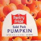 Pantry Pride Pumpkin Can Label Philadelphia PA