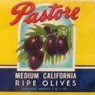 Pastore Ripe Olives Can Label Visalia CA