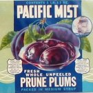 Pacific Mist Prune Plums Can label Yakima WA Lebanon OR