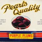 LG Pearl's Quality Purple Plums Can Crate label Salem Oregon