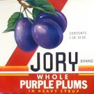 Jory Purple Plums Can label Willamette Valley OR United Growers