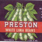 Preston Lima Beans Can Label Preston Aberdeen MD