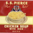 S.S. Pierce Chicken Soup with Rice Can Label Boston MA