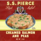 S.S. Pierce Creamed Salmon and Peas Can Label Boston MA