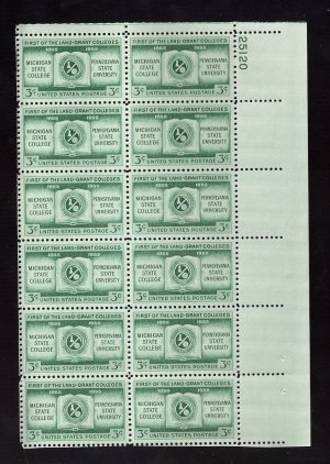 US Scott 1065 Plate Block of 12 MNH VF UR25120 3c Land Grant Colleges