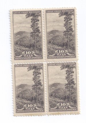 US Scott 749 MNH Block of 4 10c Great Smoky Mountains National Park