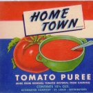 Home Town Tomato Puree Litho Can Label Rethemeyer St. Louis MO