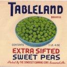 Tableland Sweet Peas Vintage Can Label Somerset PA 1 lb 4 oz