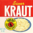 Shop-Rite Sauer Kraut Small Vintage Can Label Wakefern