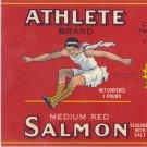 Athlete Salmon Vintage Can Label Chinook WA Litho 1 LB