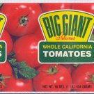 Big Giant Tomatoes Vintage Vegetable Can Label Dallas TX