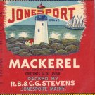 Jonesport Mackerel Lighthouse ME Vintage Can Label