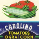 Carolina Tomatoes Okra & Corn Gilbert SC Vintage Can label