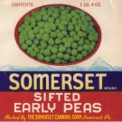 Somerset Sifted Early Peas Vegetable Can Label Somerset PA