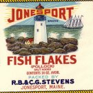Jonesport Fish Flakes Lighthouse ME Vintage Can Label