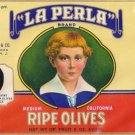 La Perla Ripe Olives Passaic NJ Vintage Gilded Can Label