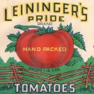 Leininger's Pride Tomatoes Tipton IN Vintage Vegetable Can Label