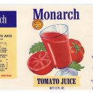 Monarch Tomato Juice San Jose CA Vintage Vegetable Can Label