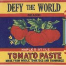 Defy The World Tomato Past Quinton NJ Vintage Can Label