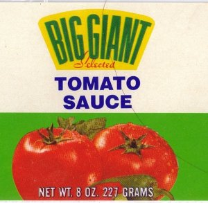 Big Giant Tomato Sauce Vintage Vegetable Can Label Dallas TX
