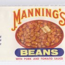 Manning's Beans Vintage Vegetable Can Label Baltimore MD