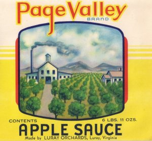 Page Valley Apple Sauce Luray VA Vintage Can label