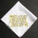 Vintage Embroidered Hanky Monogram RMM Sunflowers