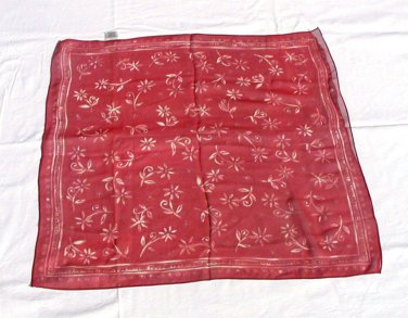 "Vintage Silk Scarf Burgundy Floral Made in Japan 20"""