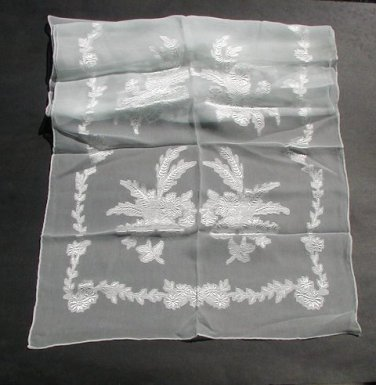 Vintage Chiffon Crepe Scarf Long Sheer Embroidered Pale Blue