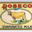 Can Label Roseco Evaporated Milk Small 6oz Cow Litho Rose Michigan