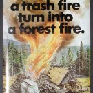 Vintage 1976 Fire Prevention Poster USDA (Cardboard)