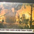 Vintage 1974 Smokey Bear Poster Trash Fires (Cardboard)